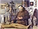 Moine sculptant un christ en bois
