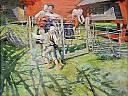 Enfants jouant dans les pâturages en été